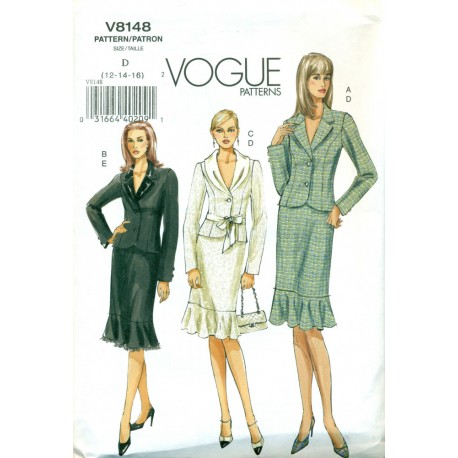 Womens Suit Skirt & Jacket Pattern - Vogue Sewing