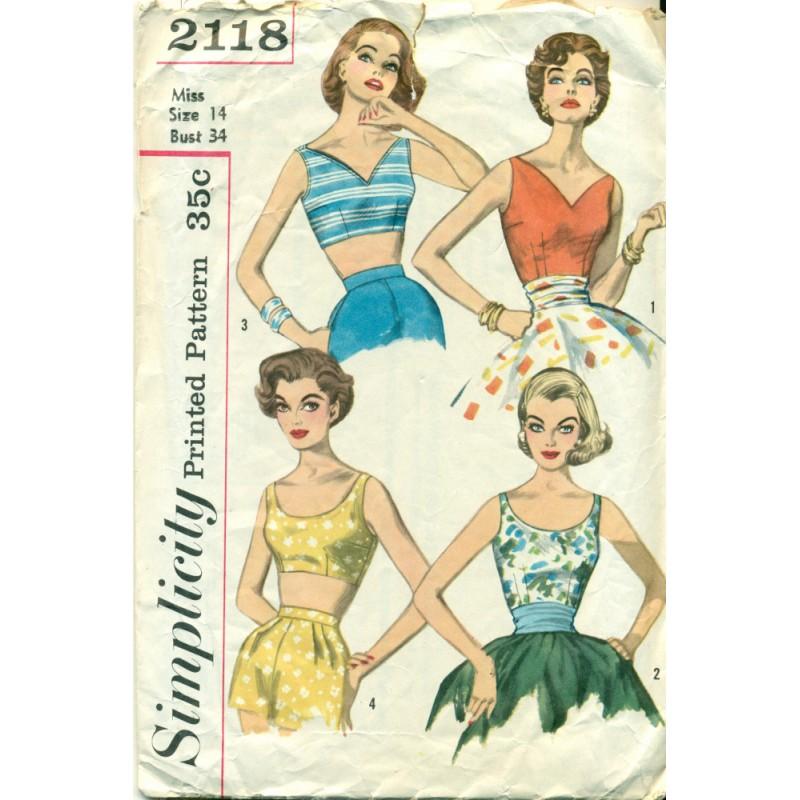 Womens Summer Shirt Pattern Simplicity 1950s Angel Elegance Vintage