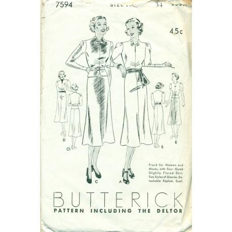 Day Dress Pattern Butterick 1920s 1930s
