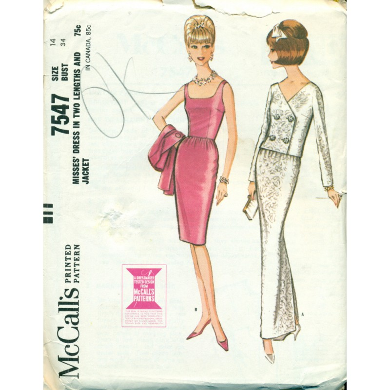 Womens Evening Dress & Jacket Sewing Pattern - McCalls - Angel ...