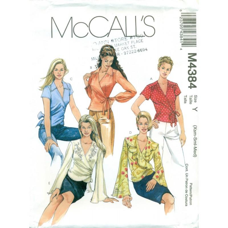 Womens Wrap Shirt Pattern - McCalls - Angel Elegance Vintage