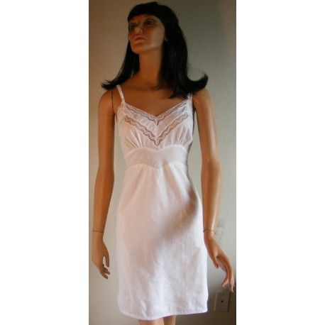 Cotton Full Slip White with Lace