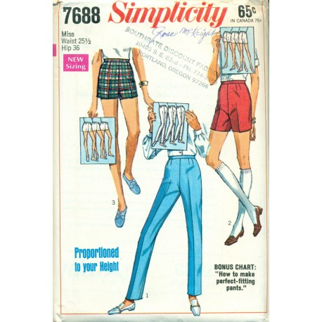 1960s Pants & Shorts Sewing Pattern