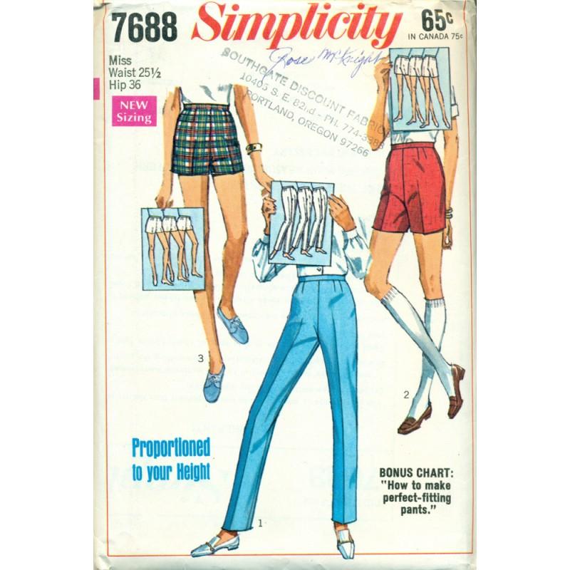 1960s Pants & Shorts Sewing Pattern - Angel Elegance Vintage