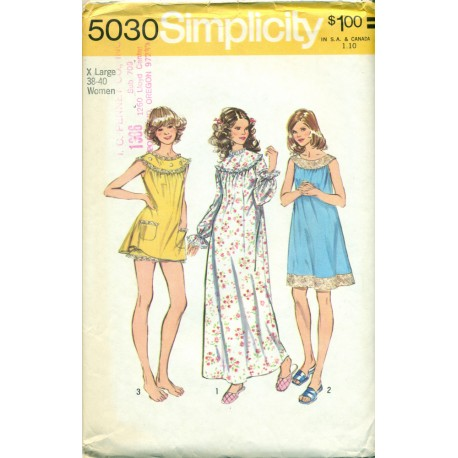 Nightgown Sewing Pattern Babydoll & Long