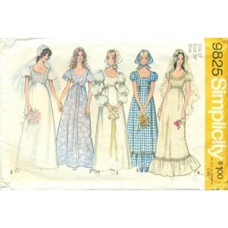 Wedding & Bridesmaid Dress Pattern 1970s