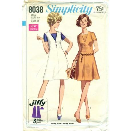 Easy Dress Sewing Pattern Simplicity 8038 - Angel Elegance Vintage
