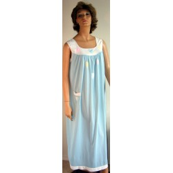 Womens Nightgown Long Cute 1960s Blue