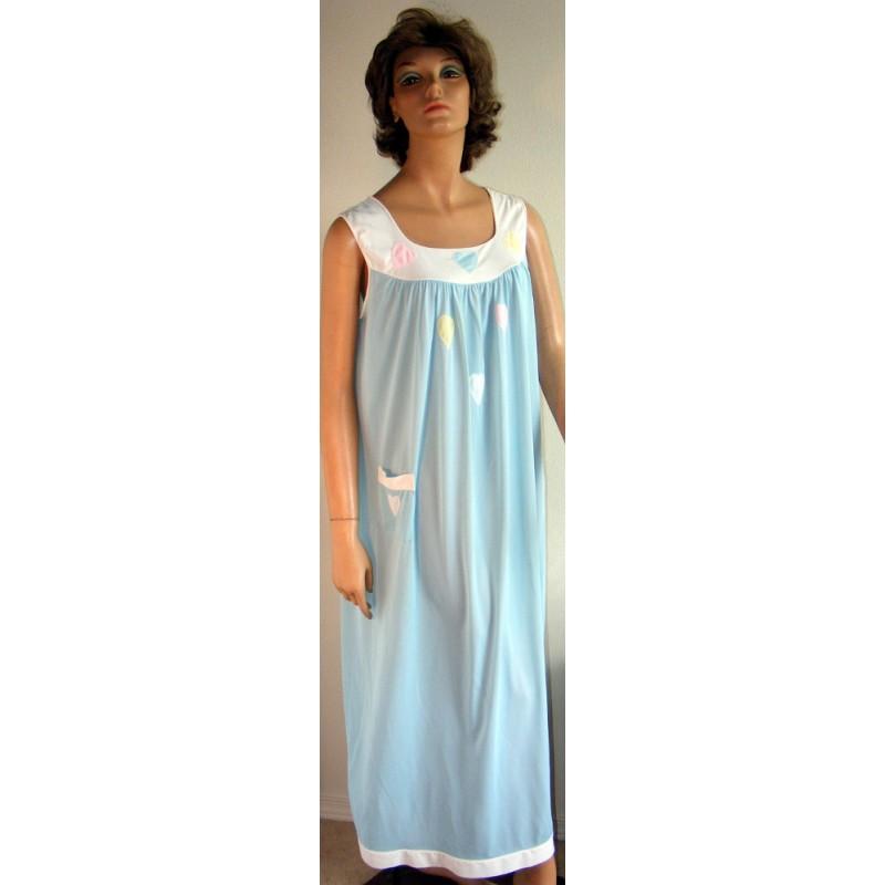 Womens Nightgown Long Cute 1960s Blue - Angel Elegance Vintage