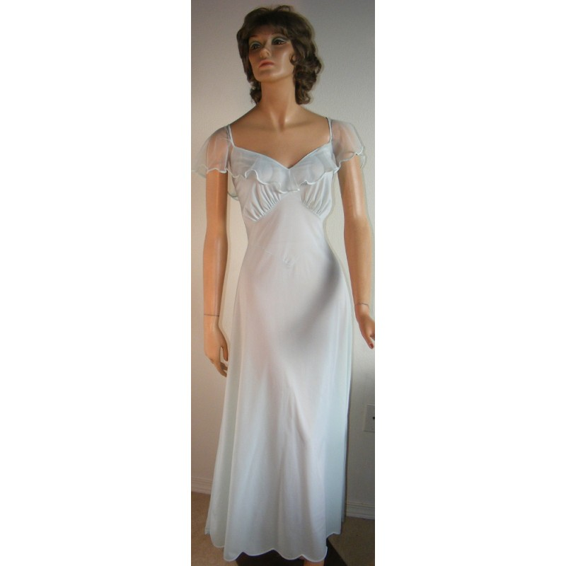 8d50a2e71 Long Nightgown Blue Negligee Romantic - Angel Elegance Vintage