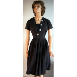 Black Full Skirt Dress 1950s Larger