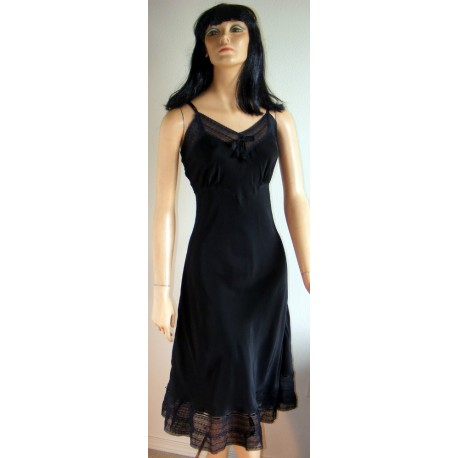 Black Full Slip Lacy Under Dress 1940s 1950s