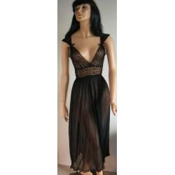Sheer Negligee Black Lace & Flowy Pleats