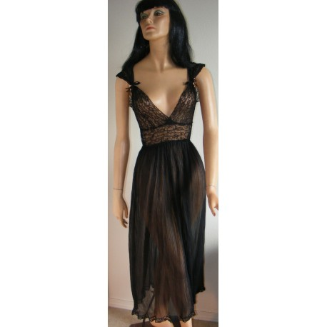 Sheer Negligee Black Lace & Flowy Pleats