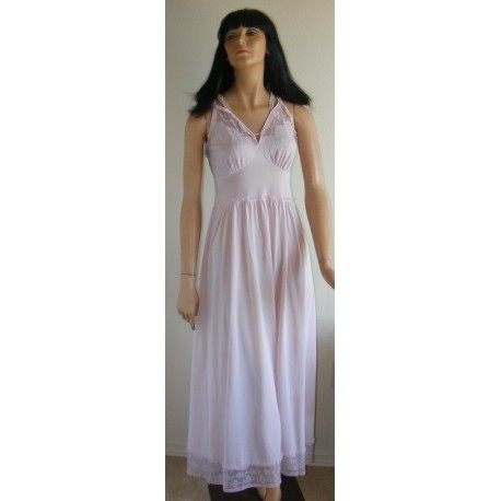 Long Nightgown Silky Nylon & Lace