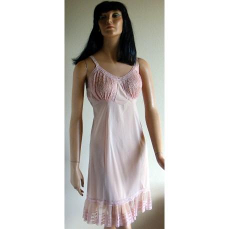 Slip Dress Full Pink & Tan Lace