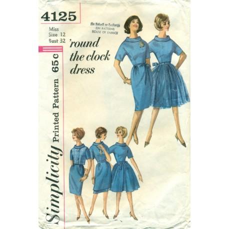 Dress with Slim Skirt and Full Skirt Pattern