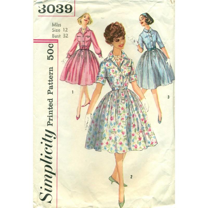 Full Skirt Dress Sewing Pattern 40s Angel Elegance Vintage Enchanting Full Skirt Pattern