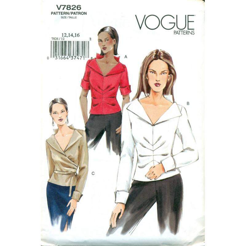 Womens Blouse Sewing Pattern Vogue 7826 Angel Elegance Vintage