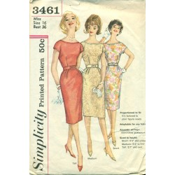 Sheath Dress Sewing Pattern 60s Simplicity