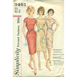 Sheath Dress Sewing Pattern 60s Simplicity