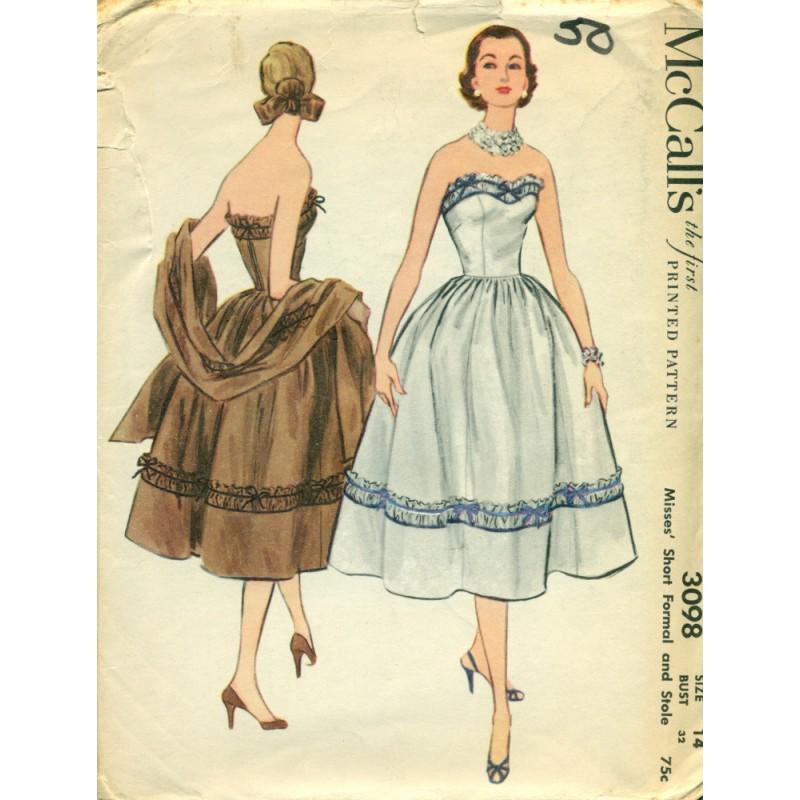 Evening Dress Sewing Pattern 1950s McCalls - Angel Elegance Vintage