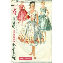 Dress Pattern 1950s Simple Full Skirt