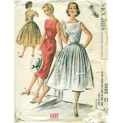 Slim & Full Skirt Dress Sewing Pattern 50s
