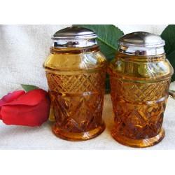 Imperial Cape Cod Salt Pepper Amber Glass