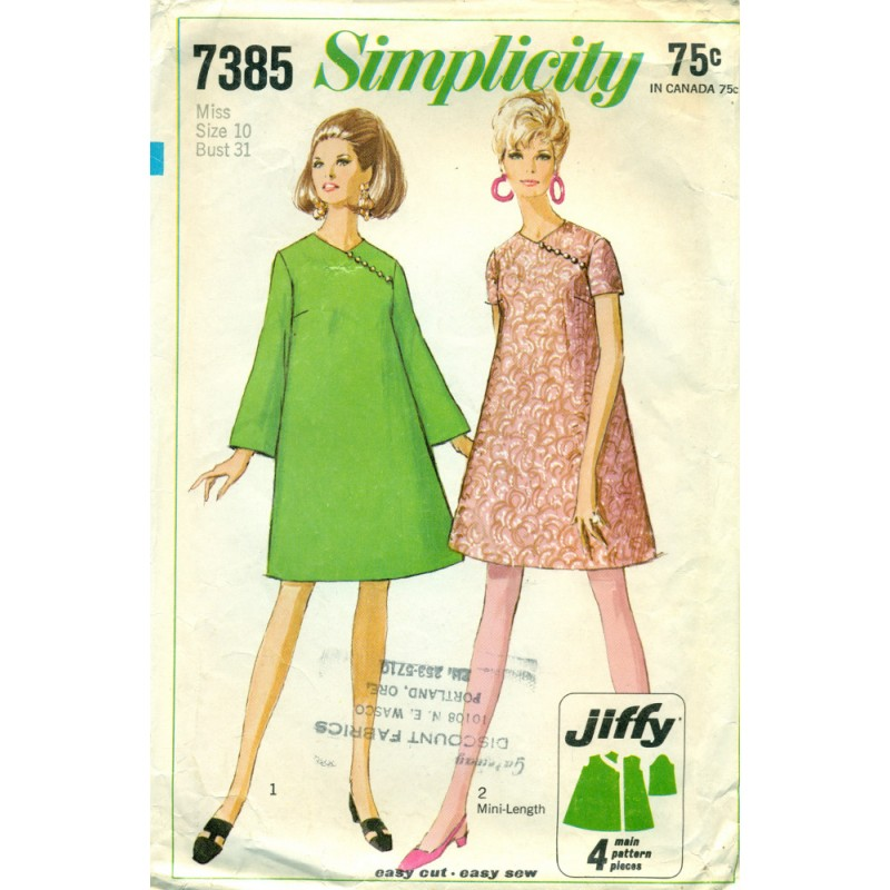 Simple To Sew Dress Pattern Simplicity 60s Angel