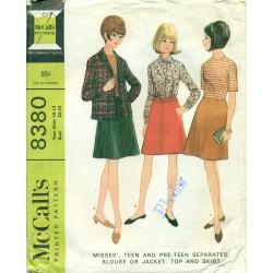 Teen Blouse Jacket Top Skirt Sewing Pattern