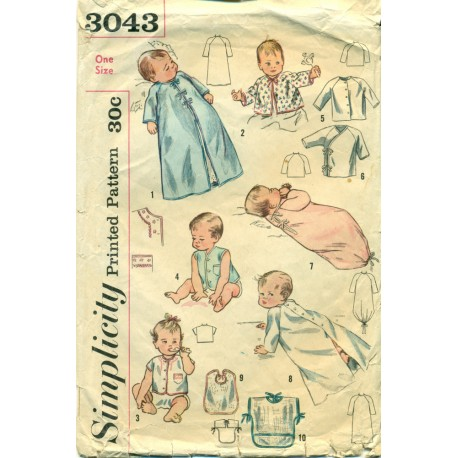 Baby Layette Sewing Pattern 1940s Sleeper