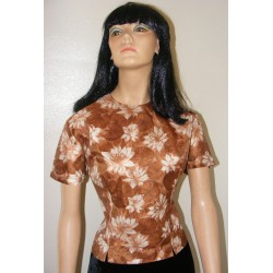 Womens Blouse Top Brown XL Plus 50s 60s