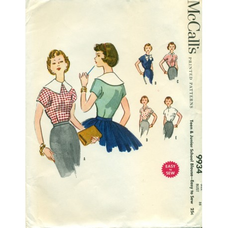 Top Sewing Pattern Teen Junior McCalls
