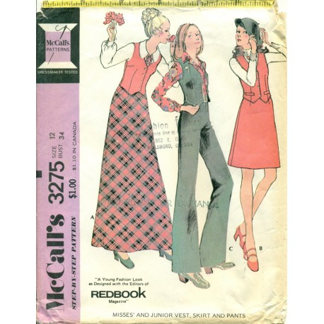 Vest Skirt Pants Wide Leg Sewing Pattern
