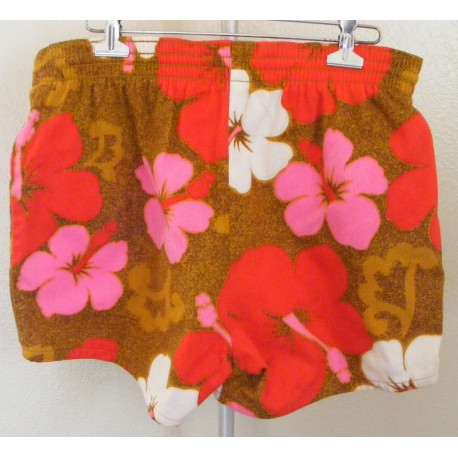Mens Swim Trunks Hawaiian Shorts 1980s
