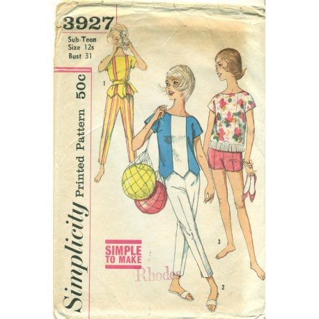Pants Shorts Top Sewing Pattern Sub Teen