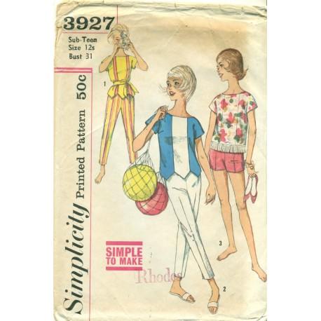 Pants Shorts Top Sewing Pattern Sub Teen