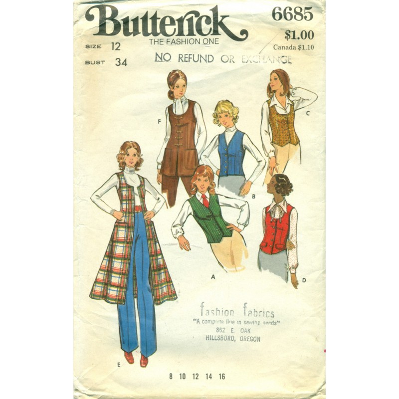 Womens Vest Sewing Pattern Butterick 1970s Angel
