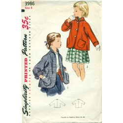 Jacket Sewing Pattern Girls Simplicity 50s
