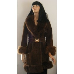 Leather Coat Suede Womens 1970s Faux Fur