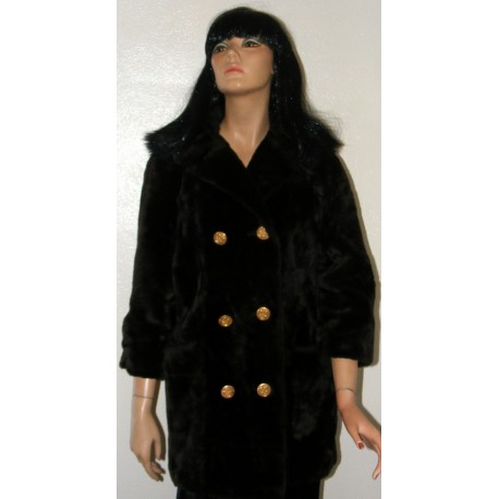 Faux Fur Coat 1970s Susan Lynn Drk Brown