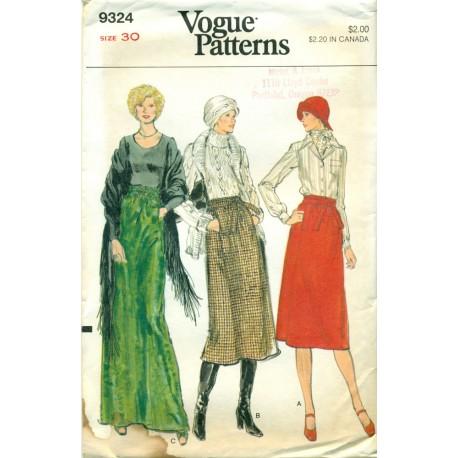Womens Skirt Sewing Pattern Vogue 9324