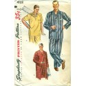 Mens Pajamas Nightshirt Pattern PJs 1950s