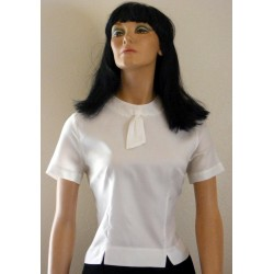 Womens Blouse Top White Short Sleeve Lerner