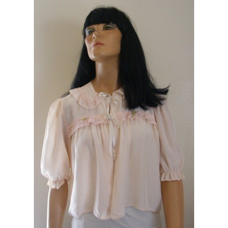 Bed Jacket Womens Pink Lace Short Sleeve