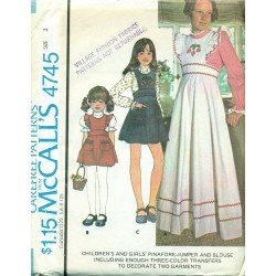 Girls Dress Blouse Pinafore Jumper McCalls