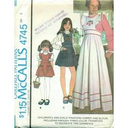 Girls Dress Blouse Pinafore Jumper McCalls