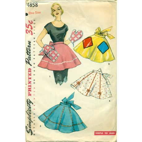 Apron Sewing Pattern 1950s Simplicity Mitts