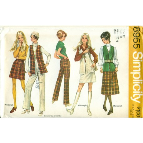 Skirt Pants Vest Pattern 8955